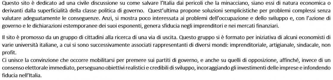 """Blog di """"Pensiamo all'Italia"""""""